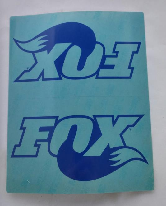 "DECAL, 7.5"" X 6"", MONOCHROME BLUE FOX LOGO ON CLEAR BACK, FRONT FORD RAPTOR"